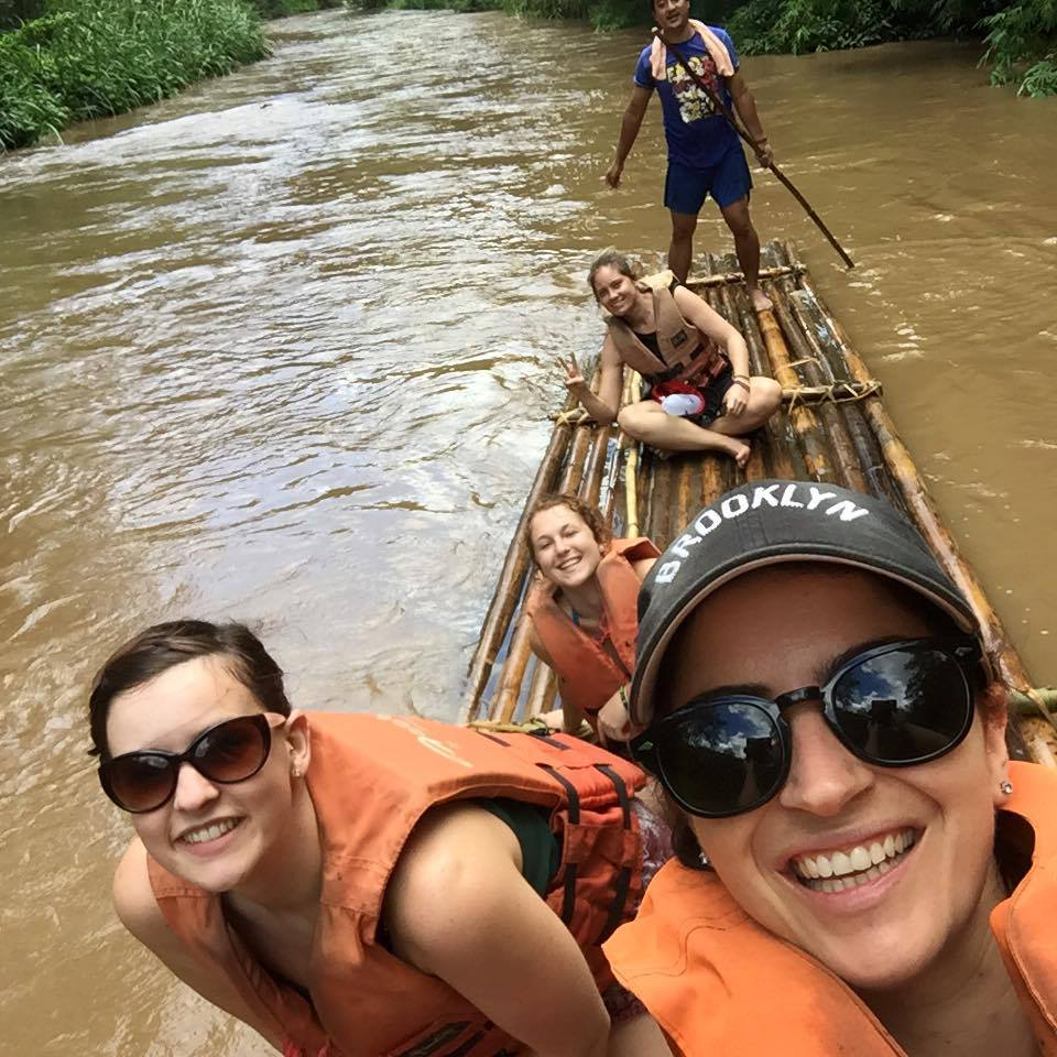 floating down a river in Northern Thailand